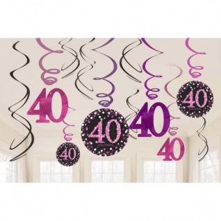 40. Geburtstag Party SWIRL GIRLANDE schwarz pink 12tlg. Raum Deko Glamour # 0605