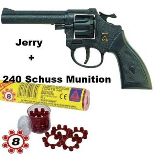 Revolver JERRY Knall-Pistole mit 240 Schuß Munition Kinder Spielzeug Sohni-Wicke
