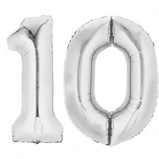 XXL Folienballon Zahlenballon Hochzeit Jubiläum Geburtstag SILBER 80cm Zahl 10