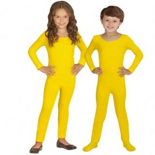 Einteiler Kinder Body Overall Jumpsuit lang Sport gelb Langarm Kostüm 116-152