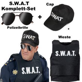 Komplett Set SWAT Weste SEK + Polizei Brille + Polizei Mütze Cap S.W.A.T Kostüm