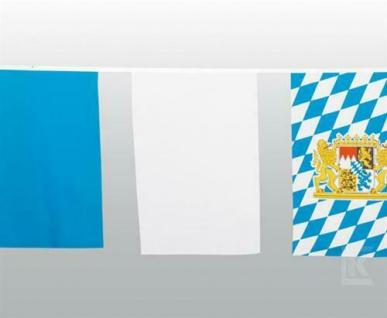 10 m Maxi Fahnenkette Oktoberfest Polyester weiss blau Bayern Party wetterfest