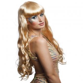 Langhaar Perücke Meerjungfrau blond Kostüm Nixe Show Phantasie Glamour #751