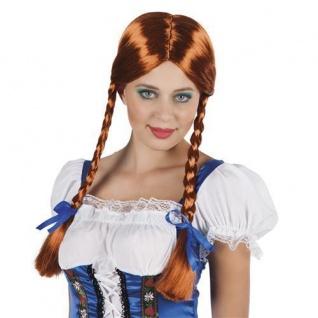 HEIDI PERÜCKE Kupfer Zöpfe Fasching Oktoberfest lang Langhaarperücke Bayern