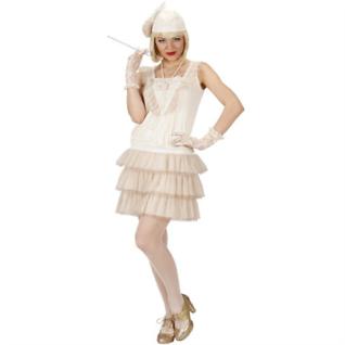 CHARLESTON Damen Kostüm Lola 20er 30er Jahre Flapper Kleid weiß Gr. S, M, L, XL