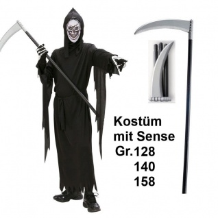 TOP SET- SENSEMANN TOD mit SENSE Kinder Kostüm Grim Reaper Halloween Karneval