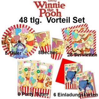 48tlg. Vorteil-Set Winnie the Pooh II Kinder Geburtstag Party Deko Teller Becher