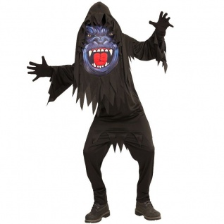 Kinder Jungen Kostüm Scary GORILLA 158 (11-13 J.) Big Face Halloween großer Kopf