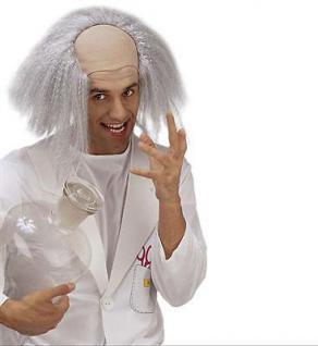 EINSTEIN PERÜCKE GLATZE MIT HAAREN Karneval Fasching Irrer Professor Doktor 8395