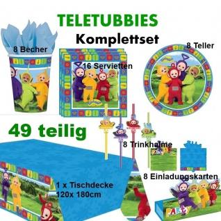49 tlg. TELETUBBIES Kinder Geburtstag Komplett Party Deko Set, Teller Becher