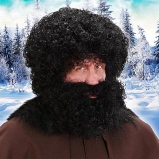 KNECHT RUPRECHT Perücke schwarz mit Bart Kostüm Mittelalter Bauer Wilder Kerl