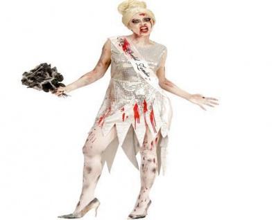 Zombie MISS WORLD Schönheitskönigin Damen Kostüm blutige Prinzessin Halloween