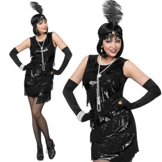 Charleston Kleid schwarz 42/44 (L) Damen Kostüm 20er Jahre Flapper #0864