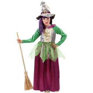 Hexe Bella Mädchen Kostüm Gr. 128 für 5-7 J. Kinder Hexenkostüm Kleid mit Hut