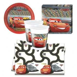 Disney CARS Party Set - Teller Becher Servietten Tischdecke - Kinder Geburtstag