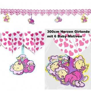 3 m Girlande rosa Herzen mit XL Baby Motive Geburt Mädchen Taufe Deko Babyparty