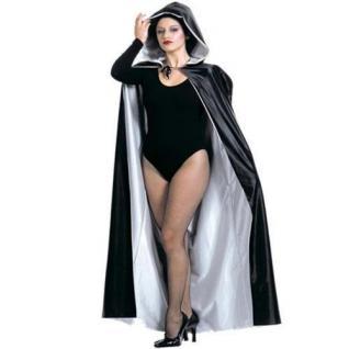 Exklusiver Wende Umhang mit Kapuze weiß/schwarz Kostüm Venedig Vampir 3587