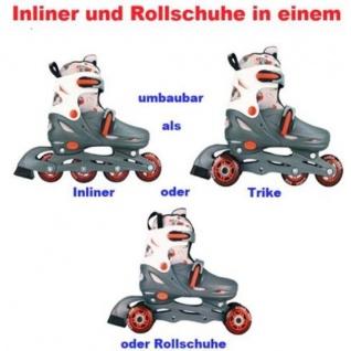 KINDER INLINER UND ROLLSCHUHE IN EINEM 34 35 36 37 Grau/Rot/Weiß (GRW)