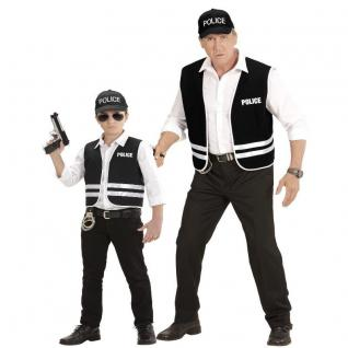 2 tlg. Polizei Set Herren u. Kinder Police Kostüm Partnerkostüm - Weste + Cap-