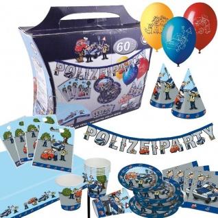 POLIZEI 60 teiliger Partykoffer Kinder Geburtstag Party Deko: Teller Becher ....