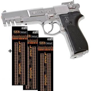 TERMINATOR Agent Pistole mit 600 Schuss Munition Kinder Spielzeug chrom 0489