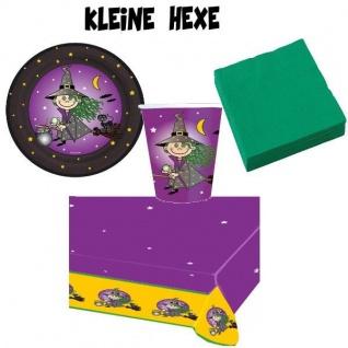 KLEINE HEXE Party Set - Teller Becher Servietten Tischdecke Kinder Geburtstag
