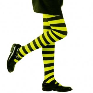Kinder Ringel Strumpfhose grün schwarz gestreift 70 DEN Halloween Hexen Kostüm