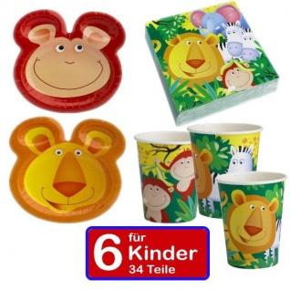 34 teilig Safari Dschungel Teller mit Ohren Servietten Becher Set für 6 Kinder