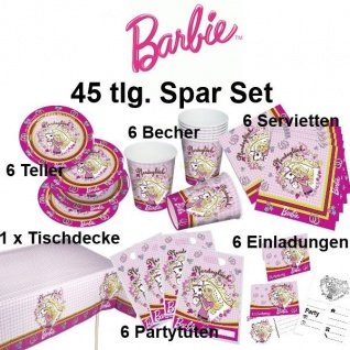 46 tlg. Super Spar-Set BARBIE Kinder Geburtstag Party Deko Pferde Teller Becher