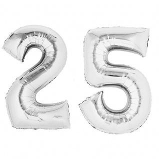 XXL Folienballon Zahlenballon Hochzeit Jubiläum Geburtstag SILBER 80cm Zahl 25