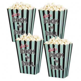 "4er Pack Popcorn-Tüten Popcorn-Schalen "" Rock 'n Roll"" Party Deko"