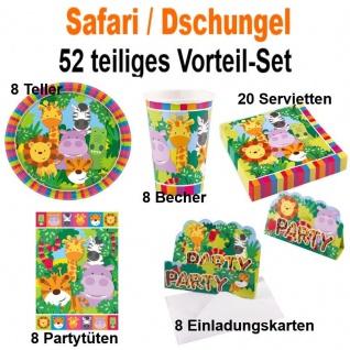 52 tlg. Vorteil-Set SAFARI TIERE Dschungel Jungel Kinder Geburtstag Party Deko