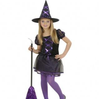 Waldhexe Kinder Hexen Kostüm schwarz-lila Halloween Karneval 128 140 158