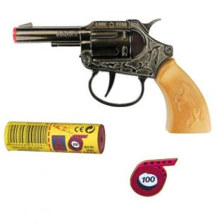 SCOUT Western Knall-Pistole mit 1000 Schuß Munition Kinder Spielzeug Revolver