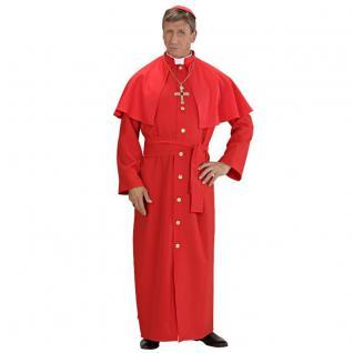 3tlg DELUXE KARDINAL Herren Kostüm rot Gr. 54 (XL) -Kirche Papst Priester Pastor