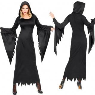 Dunkle Queen Damen Kostüm schwarzes Kleid mit Kapuze -Halloween Fee Vampir Hexe