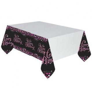 Party Tischdecke Happy Birthday Amscan rosa Geburtstag pink schwarz Tisch Deko