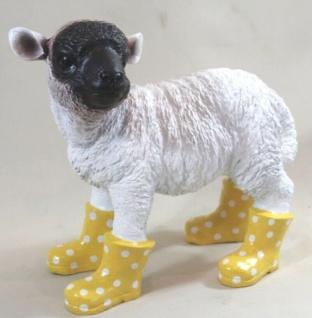 Figur Lamm mit Stiefel Schaf Heidschnucke stehend lebensecht Garten Deko #3162