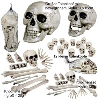 Totenkopf groß beweglicher Kiefer 12 tlg. Schädel & Knochen-Sets - Halloween