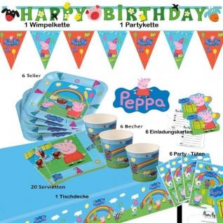 Peppa Pig Wutz47-tlg.Spar-Set Kinder Geburtstag Teller Becher Zubehör Peppa Pig