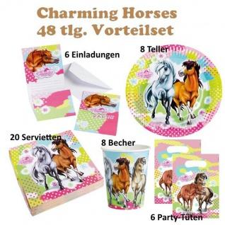 48 tlg. Set charming Horses 2 Kinder Geburtstag Party Deko, Tischdecke, Teller,
