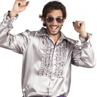 TOP Schlagerhemd SILBER Rüschenhemd L (50/52) Herren Hemd Retro Disco 60er 70er