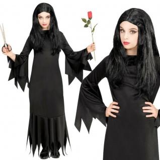Schwarze Hexe Kinder Mädchen Kostüm - Kleid - Halloween Karneval Gr. 116 bis 164