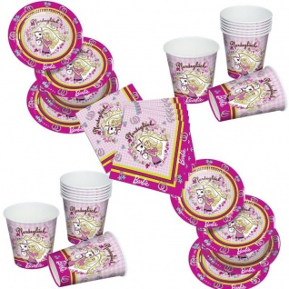 Barbie Pferdeglück Party Set 12xBecher 20xServietten 12xPappteller Geburtstag
