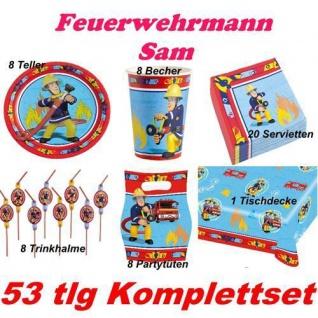 53 tlg. Set FEUERWEHRMAN SAM Kinder Geburtstag Party Deko Teller, Becher etc.