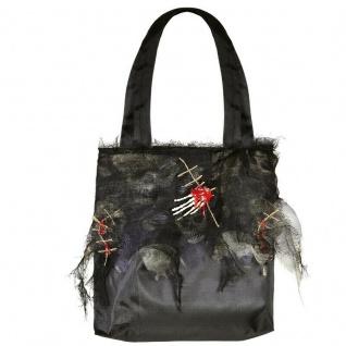 Zombie Halloween Tasche Handtasche mit Skeletthand schwarz 426 Kostüm Hexe