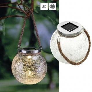 LED Solar Leuchte Glas Kugel Hängeleuchte Glaslampe Hängelampe Garten