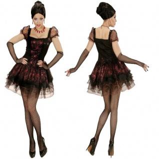Vampir Lady, Kleid und fingerlose Handschuhe Damen Kostüm Gr. S-XL Hexe Gothic