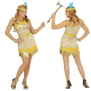 Indianerin Kostüm Gr. M 38/40 Western Squaw Damen Kostüm Indianer gold 2282