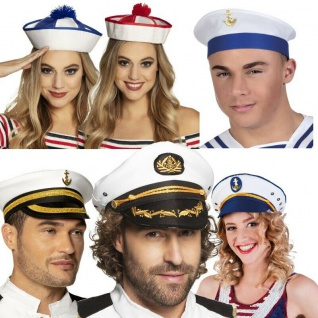Matrosen Seemann Marine Kreuzfahrt Kapitän Offizier Mütze Hut für Sie & Ihn